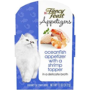 Purina Fancy Feast Wet Cat Food Complement; Appetizers Oceanfish With a Shrimp Topper in Broth - 1.1 oz. Tray , Pack of 10 53