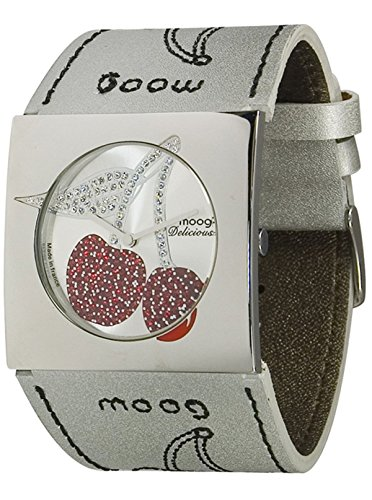 Moog Paris - Delicious - Women's Watch with silver dial, white strap in Genuine calf leather, made in France - M44922-002
