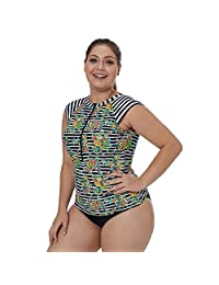 Women's Rash Guard Tops Sleeveless Bathing Suits Floral Printed UV Sun Protection Surfing Swimwear,XL