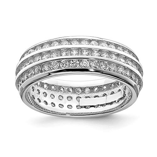 925 Sterling Silver 3 Row Eternity Band Ring Size 6.00 Fine Jewelry Gifts For Women For Her ()