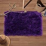 YJ.GWL Super Soft Faux Fur Area Rug (2'x3') for Bedroom Sofa Living Room Fluffy Bedside Rugs Home Decor,Purple Rectangle