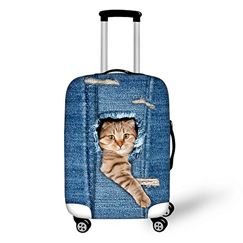 HUGSIDEA 22/24/26 Inch 3D Pet Persian Cat Printed Suitcase Protective Covers for Women