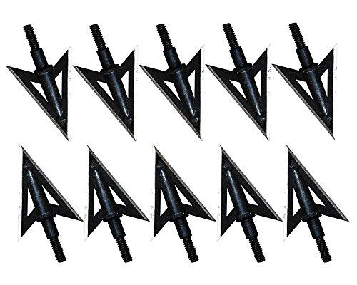 10 Pcs Metal 2 Fixed Sharp Blade Arrow Broadheads 100 grain Hunting Archery Arrow Heads Black