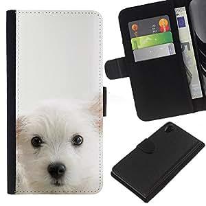 Planetar® Modelo colorido cuero carpeta tirón caso cubierta piel Holster Funda protección Para Sony Xperia Z2 D6502 ( Cub perrito blanco Mutt Pet Hocico lindo del perro )