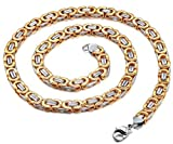 6MM Stainless Steel Necklace for Mens Byzantine Chain Link Rose Gold Silver Tone, 20-40 Inches