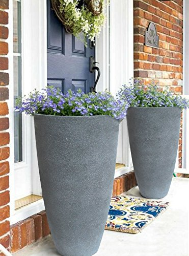Tall Planters Set 2 Flower Pots, 20'' Each, Patio Deck Indoor Outdoor Garden Resin Planters, Gray by LA JOLIE MUSE (Image #1)