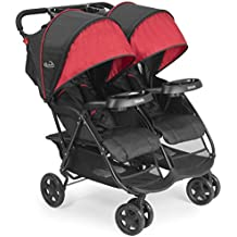 Kolcraft Cloud Plus Lightweight Double Stroller -5-Point Safety System, 3-Tier Extended Canopy for UV Protection, Independently Reclining Seats, Easy Fold, Storage Basket, Drink Holder Tray, Red/Black