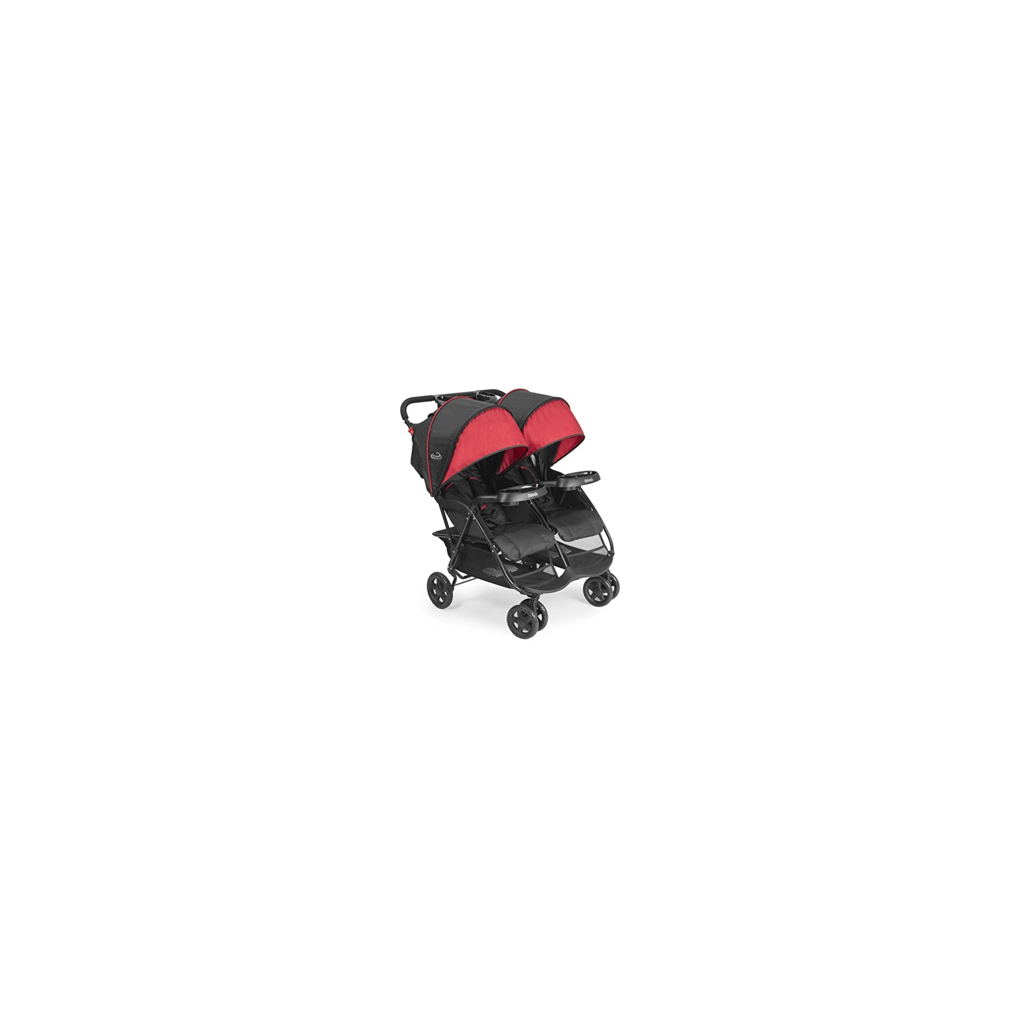 Kolcraft Cloud Plus Lightweight Double Stroller – 5-Point Safety System, Red/Black