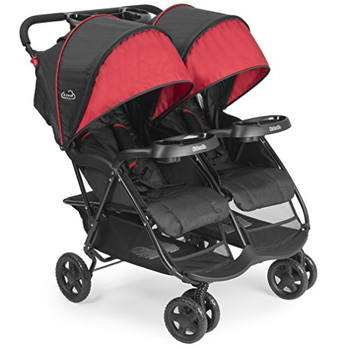 (Kolcraft Cloud Plus Lightweight Double Stroller -5-Point Safety System, 3-Tier Extended Canopy for UV Protection, Independently Reclining Seats, Easy Fold, Storage Basket, Drink Holder Tray, Red/Black)