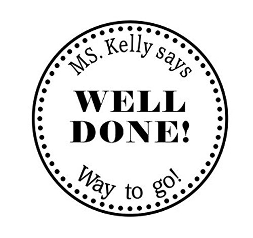 Personalized Teacher Stamp - Teacher Stamp Well Done! Custom Name Round Self Inking stamp