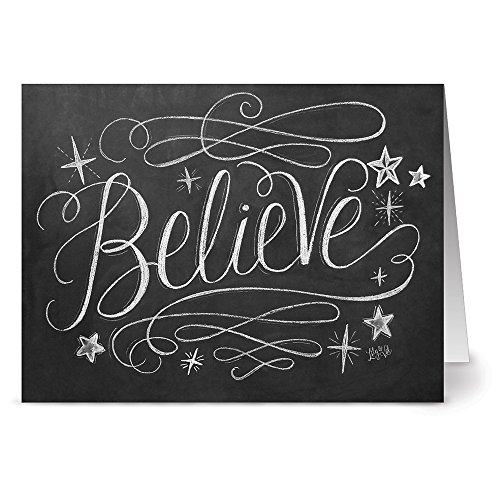 Believe Card - Script Believe - 36 Chalkboard Note Cards - Blank Cards - Kraft Envelopes Included