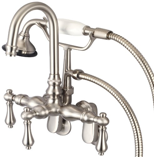 Water Creation F6-0011-02-PL Vintage Classic Adjustable Spread Wall Mount Tub Faucet with Gooseneck Spout, Swivel Wall Connector and Handheld Shower