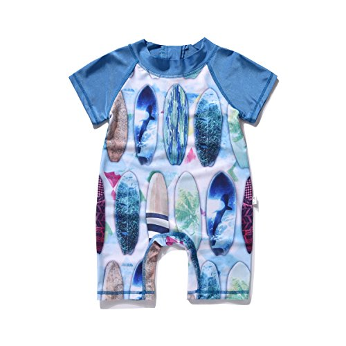 AJia Toddler Boys Multi Surfboard Sunsafe Suit Bodysuit Style Beachwear Swimwear (2t)
