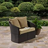Better Homes and Gardens Cascade Falls Two Seaters Curved Loveseat Standing Alone Wickers Steel 300 Lb Capacity, Brown