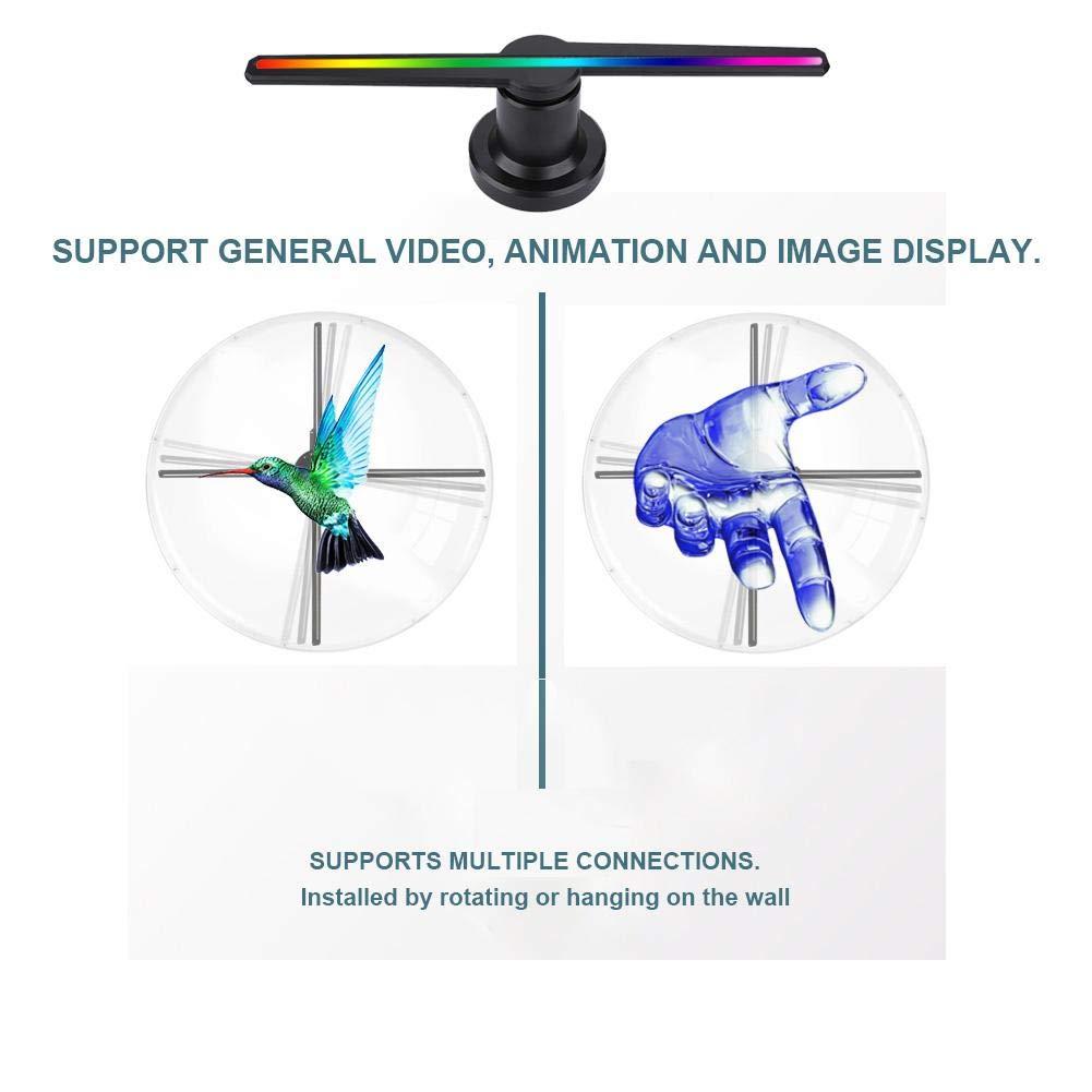 LED 3D Holographischer Anzeigen Fan HD Projektion Werbung,Hologramm Projektor Advisement Displayer PC-WiFi Handy APP Steuerung f/ür Ausstellungen//Fest//Party ASHATA 3D Hologramm Projektor Schwarz