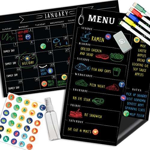 Magnetic Calendar for Fridge Chalkboard - Weekly & Monthly Black Dry Erase Refrigerator Board - 2019 Kitchen Menu Planner - 17