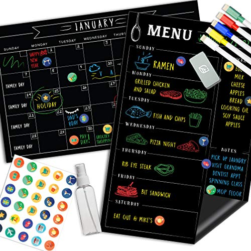 Magnetic Calendar for Fridge Chalkboard - Weekly & Monthly Black Dry Erase Refrigerator Board - 2019 Kitchen Menu Planner - 17