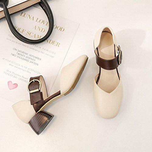 sandali sandali Baotou brown RUGAI Dark donna Tacco con UE qXCXxgTw