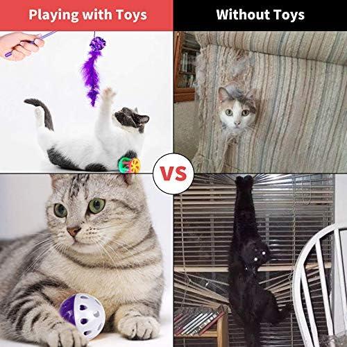 30 Piezas Set de Juguetes para Gatos Variedad Catnip Toy Set Kitten Toys Surtidos que incluyen Tunel Gato Pelota Gato Cat Teaser Mice Wand Feather Toys Cat Balls Jingle Bell Interactive Juguete gato Set para Gato 8