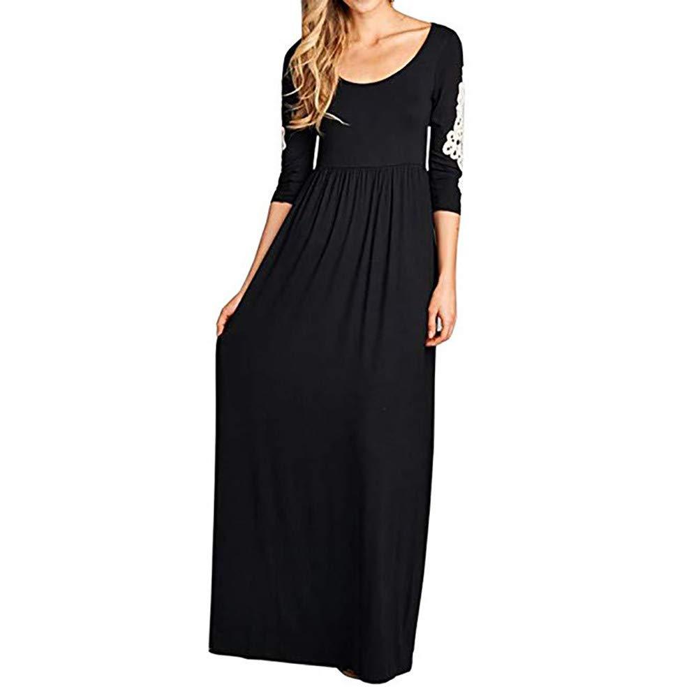 Women Graceful Maxi Dress,Women Solid Applique Three Quarter Sleeve Patchwork High Waist Boho Long Maxi Dresses(S,Black)