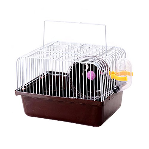 Petzilla Basic Hamster Cage Habitat, Travel Carrier for Small Animals (Brown)