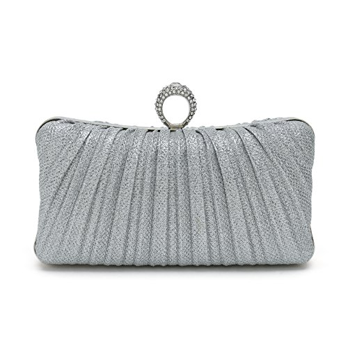 ChilMo Pleated Crystal-Studded Satin Handbag Evening Clutch Wedding Bridal Bags With Strap,Silver