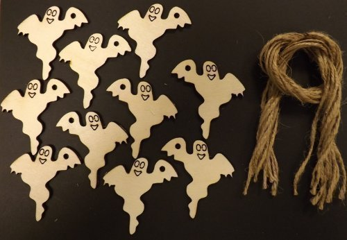 Wooden Halloween Ghost Gift Tags/Decorations 70mm - Pack of 10 -