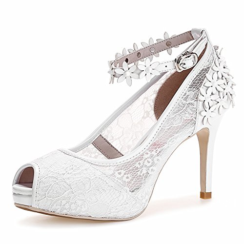 Con un cuero multa impermeable de tacón alto zapatos de las sandalias de gasa de bolsillo boca de los pescados de marea White