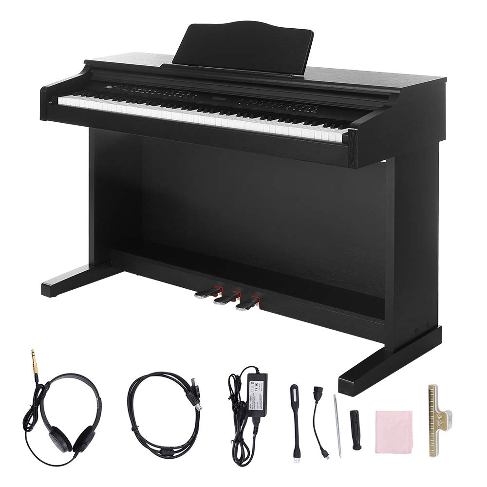 Digital Piano,Les Ailes de la Voix 88 Key Electric Piano Portable for Beginner Adults with 3 Pedal Board,Music Stand,Power Adapter, Headphone,Instruction Book Black