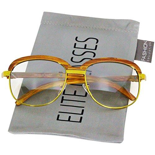 Elite WOOD Art Clear Lens Eyeglasses Unisex Vintage Fashion Aviator Sunglasses (Gold/Black Tinted Lens) ()