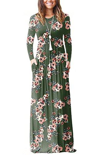 Maxi Dress Women Long Boho Long Pocket Green Sleeve Casual Floral Army Print with Sunfury 0xzqpBz