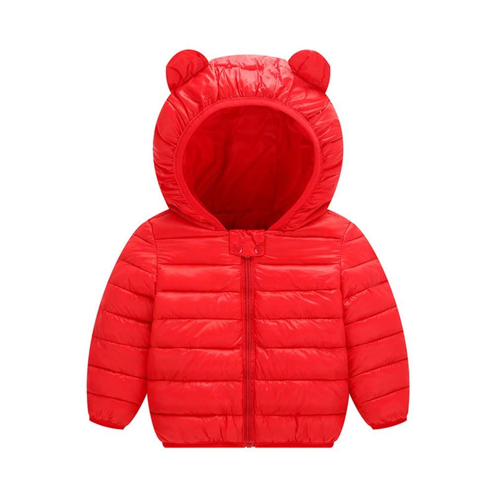 JIANLANPTT Baby Girls Boys Windproof Lightweight Cartoon Hoodie Jacket Kids Cotton Warm Coat Outerwear Red 2-3Years