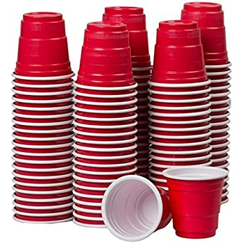 Amazon.com | Lil' Reds Reds Mini Cup Shot Glasses, Miniature Beer ...