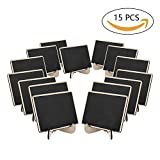 #7: Wood Mini Small Rectangle Chalkboards with Easel Stand to Place Cards Table Numbers Food Signs for Wedding Party and Special Event Decoration Pack of 15