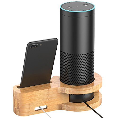 Ihaospace speaker e del supporto per Echo, legno di bambù di ricarica supporto per Amazon Echo e iPhone, protettiva Holder