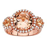 Seta Jewelry Simulated Pink Morganite and CZ Rose Gold over .925 Sterling Silver Halo Ring