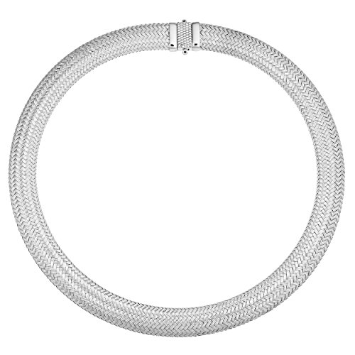 Kooljewelry Sterling Silver Bold Weaved Necklace (14mm, 16.5 inch) by Kooljewelry