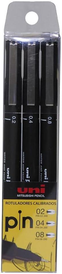 Uni-Ball/Pochette de 3/feutres calibr/és Uni Pin /Épaisseurs /0,2-0,4-0,8/mm 1 stylo Uni-Ball Air