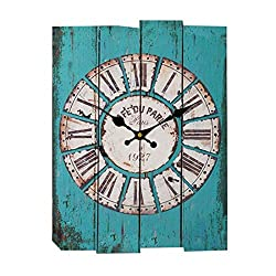 Creative Retro Style Square Hanging Clock Delicate Wall Clock for Living Room Bar - Blue