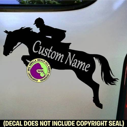 HUNTER JUMPER CUSTOM COLOR, SIZE and WORDS Horse Rider Vinyl Decal Sticker B