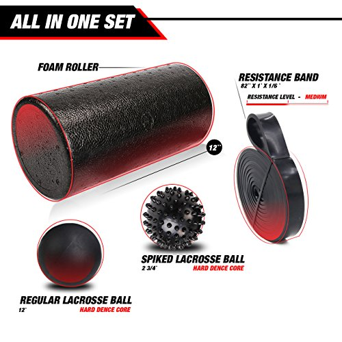 The Premo Source Foam Roller Set:12'' High-Density Foam Roller, Resistance Band, And 2 Lacrosse Balls For A Complete Muscle Recovery Bundle – Mobility Kit For Stretching, Injury Prevention And Workouts by The Premo Source (Image #1)