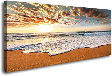 XXMWallArt FC1575 Wall Art Decor Sunrise Beach Painting Nature Pictures Ocean Waves Canvas Print Waves Scenery Painting Artwork Canvas wall art