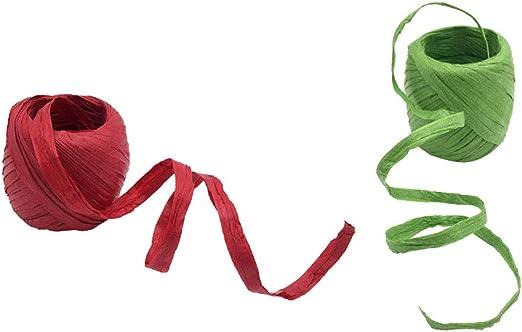 Baoblaze 2 Rollos de Papel de Rafia Paquete de Regalo Cinta Scrapbooking Verde Rojo 40 m
