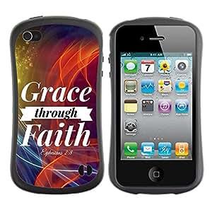 Fuerte Suave TPU GEL Caso Carcasa de Protección Funda para Apple Iphone 4 / 4S / Business Style BIBLE Grace Through Faith - Ephesians 2:8