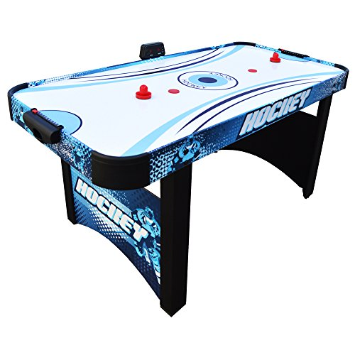 (Hathaway Enforcer Air Hockey Table 5.5-ft for Kids with Electronic Scoring for Family Game Rooms – Blue/White)