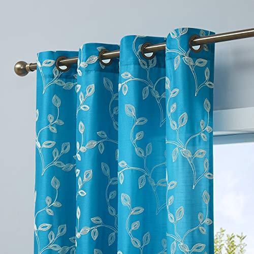 LALA & WONZ Faux Silk Semi Sheer Curtains for Living Room, Floral Embroidered Grommet Sheer Window Curtains for Bedroom, 52 x 96 Inch Long, Turquoise, 2 Panels.
