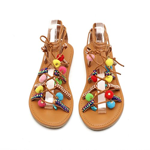 Leather Women Sandals Fashion Artificial Pom Sandals TM Sandals Shoes Colorful Flats Bohemia Girl Teenager Pom Gladiator ExFzwUYqw
