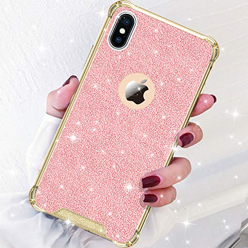 DAUPIN Compatible iPhone Xs iPhone X Case for Women Girl Phone Cover Bling Glitter Protective Defender Shockproof Hard Back Cases for Apple iPhone Xs/X (Rose Gold)