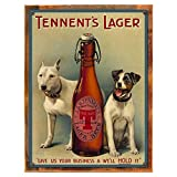 Cheap Wood-Framed Tennents Lager Metal Sign for kitchen on reclaimed, rustic wood