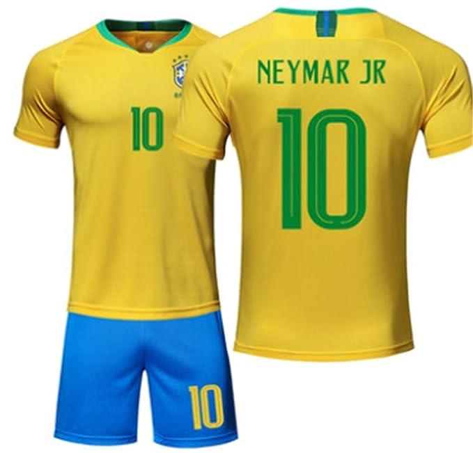 9be7525d3 LISIMKE Neymar JR 10 Brazil 2018 Men Home Soccer Jersey at Amazon ...